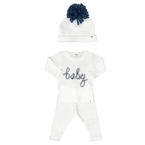 Baby In Deep Blue Yarn With Hat