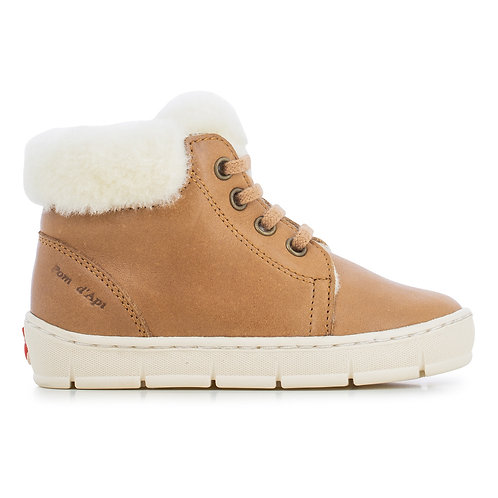 Pom D'api - Fur Leather Camel Sneakers