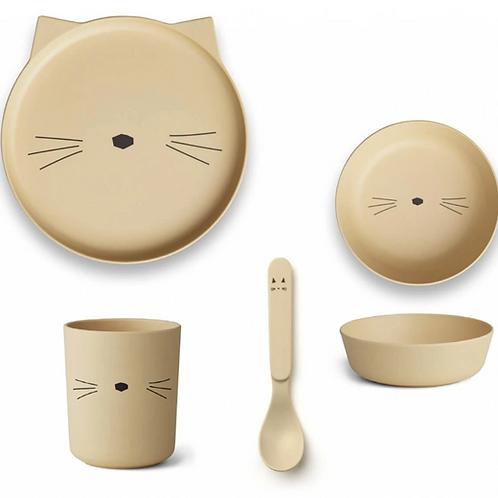Yellow Kitty Bamboo Tableware Set