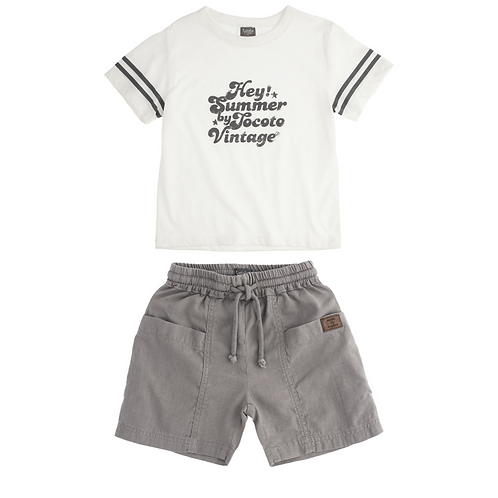 Soft White Tee & Linen Cotton Taupe Shorts