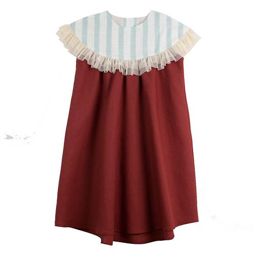 Earth Red Yoke Dress