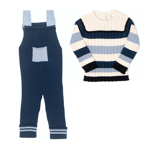 Broke Ribbed Jumpsuit & Striped Ribbed Sweater