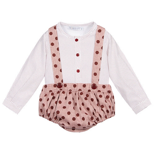 Red Spotted Dungaree Set