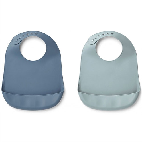 Solid Blue x Light Blue Silicone Bib
