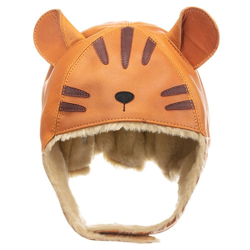 Brown Leather Tiger Hat