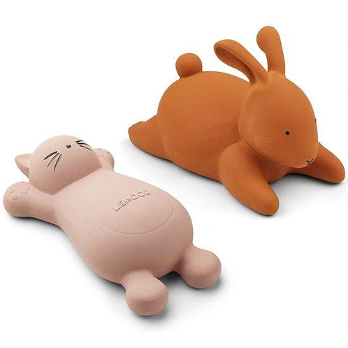 Kitty & Bunny Bath Friends - Mustard/Rose