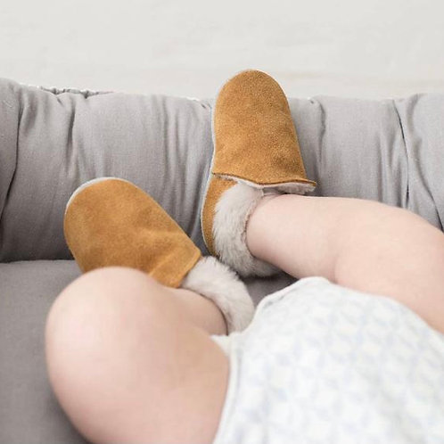 Baby Steps - Caramel Suede Fur Slip Ons