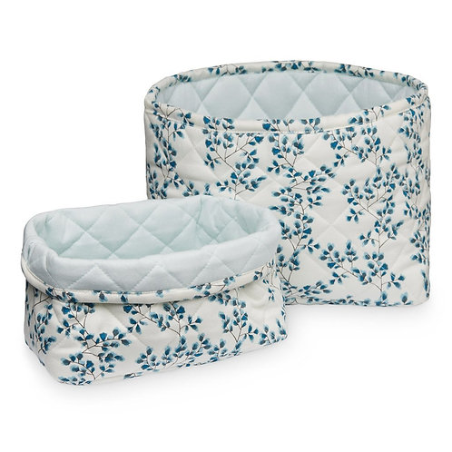 Winter Blue Floral Basket Set