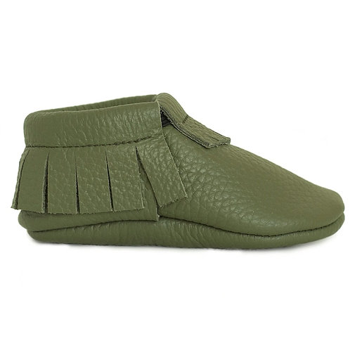 Baby Steps - Army Green Fringe Leather Mocs