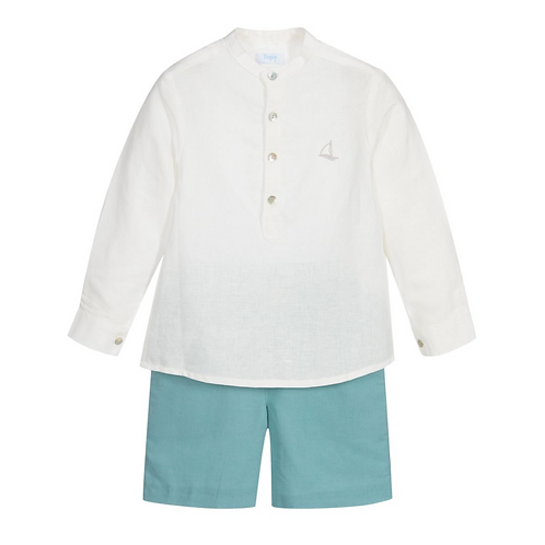 Sage & Ivory Linen Shorts Set