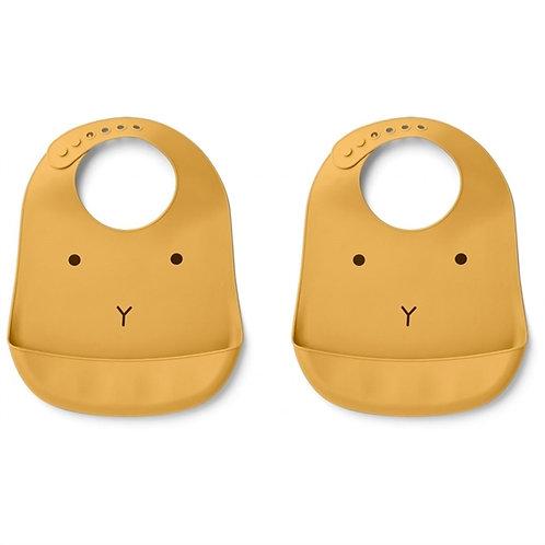 Mellow Yellow Bunny Silicone Bib Set