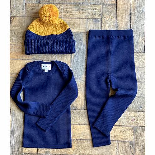 Merino Wool Indigo Set of 3