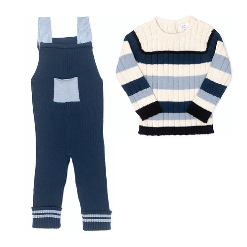 Ribbed Jumpsuit & Striped Ribbed Sweater