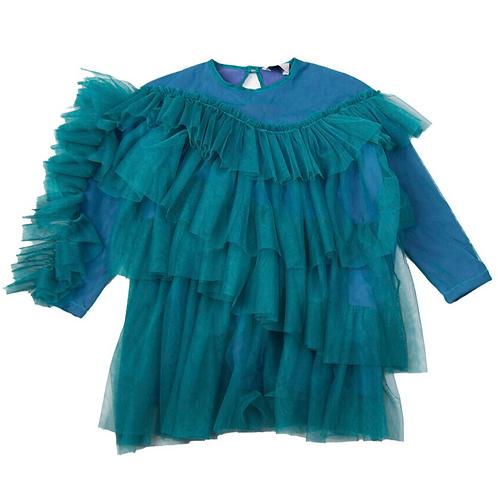 Raspberry Plum - Blue Puff Dress