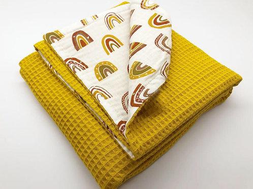 Mustard Rainbow Waffle Baby Blanket