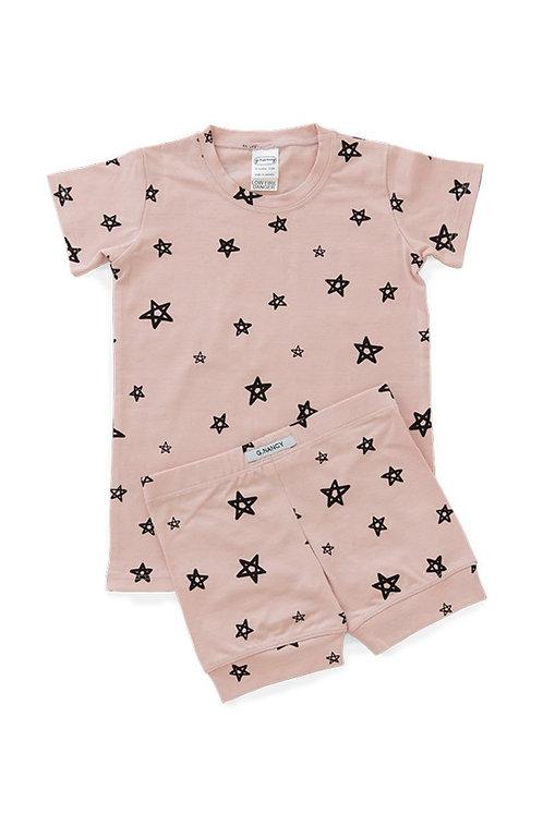 Pink Stars Pajama Shortie Set