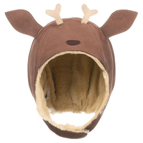 Brown Leather Reindeer Hat
