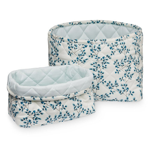 Winter Blue Floral Basket Set