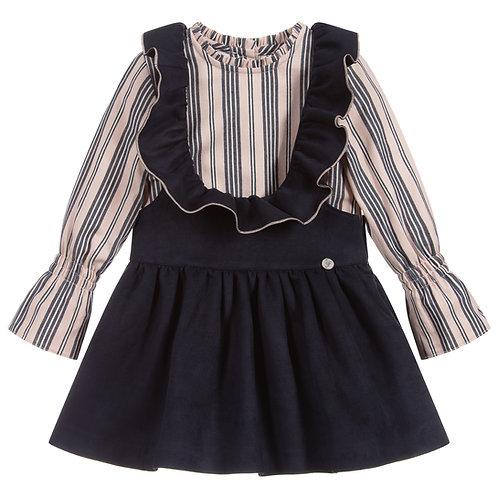 Foque - Navy Blue & Pink Pinafore Dress