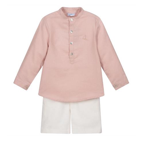 Red & Ivory Linen Shorts Set