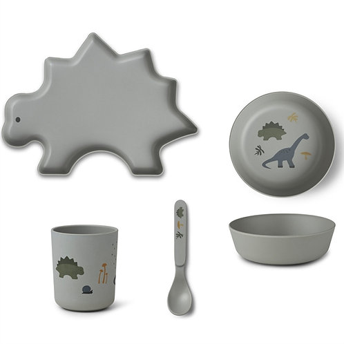 Dove Blue Dino Bamboo Tableware Set