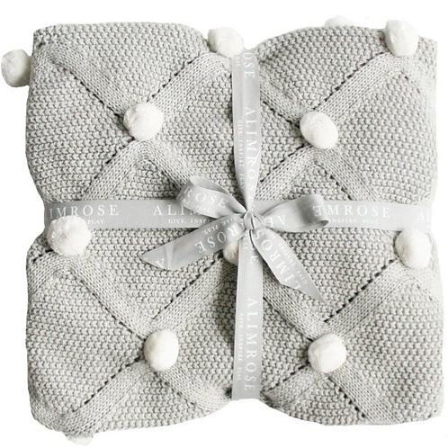 Organic Pom Pom Blanket - Grey & Ivory