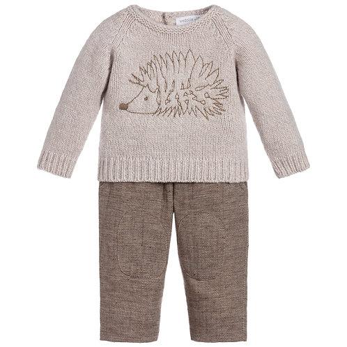 Beige Hedgehog Trousers Set
