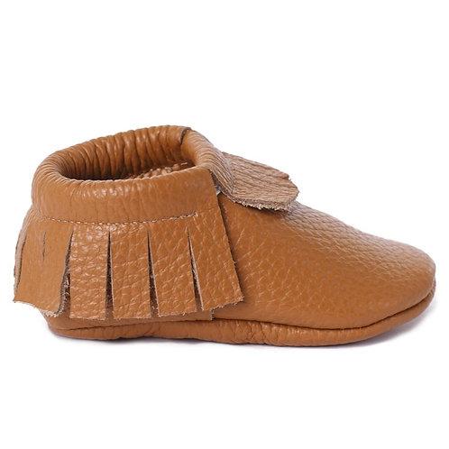 Baby Steps - Caramel Fringe Leather Mocs