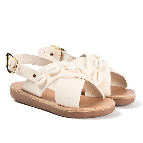 Handmade Off White Shell Leather Sandals