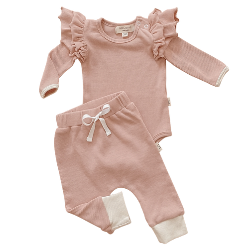 Dusty Ribbed Ruffle Onesie & Relaxed Fit Leggings