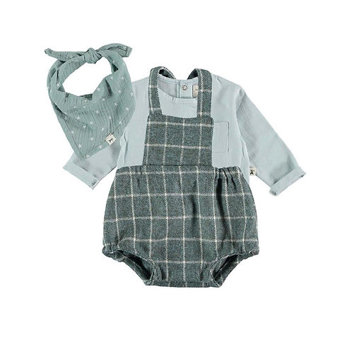 Teal Checkered Overall Set