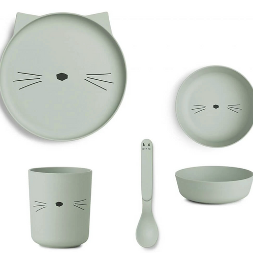 Mint Kitty Bamboo Tableware Set
