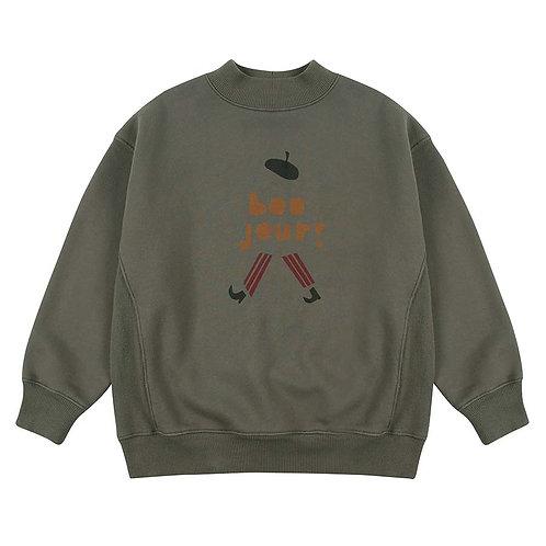 Bonjour Turtleneck Green Sweatshirt