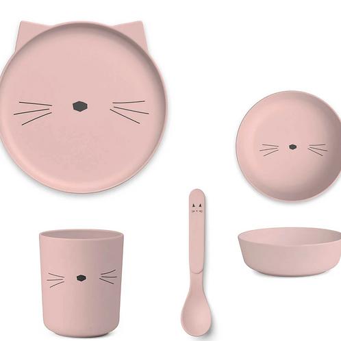 Blush Kitty Bamboo Tableware Set