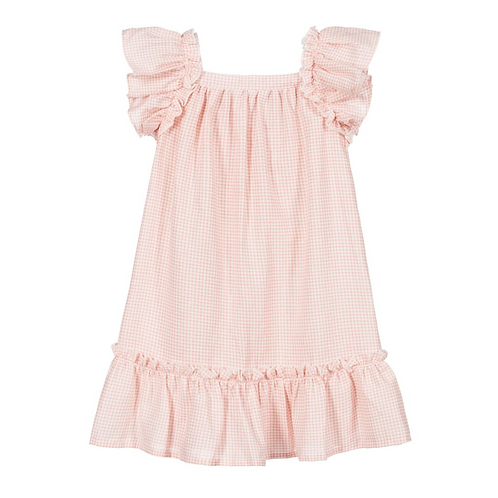 Rose Pink & White Checkered Dress
