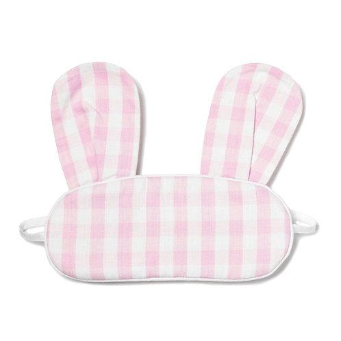 Pink Gingham Bunny Eye Mask