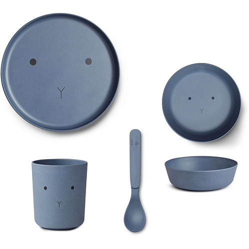 Blue Wave Bunny Bamboo Tableware Set