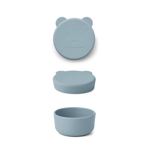 Blue Mr Bear Silicone Snack Box - Small