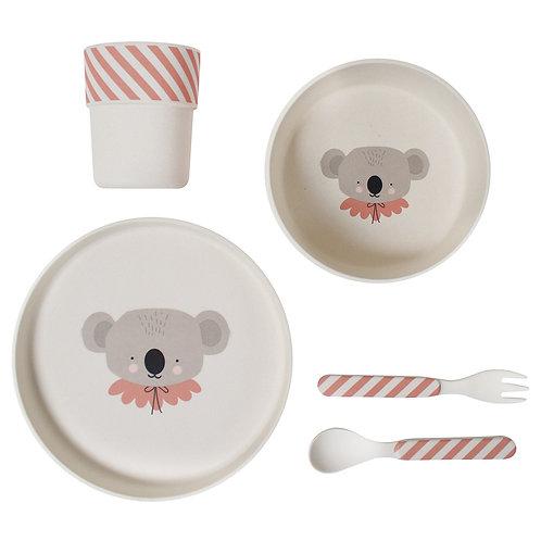Peach Koala Bamboo Meal Set