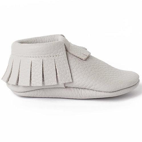 Baby Steps - Grey Fringe Leather Mocs