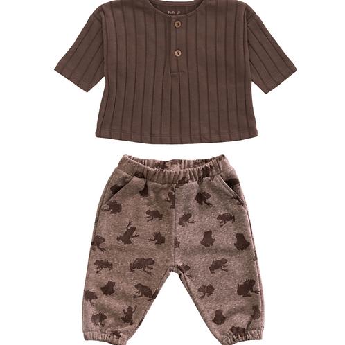 Walnut Rib Top & Fleece Trousers