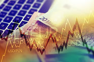 Trading Markets. Forex Currency Trading Concept with Computer, Cash Euro Money and Some Li