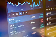 Currency pairs on stock market or forex trading platform. Euro / dollar on stock market or