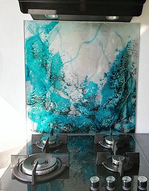 Fond de hotte verre Sous marine turquoise