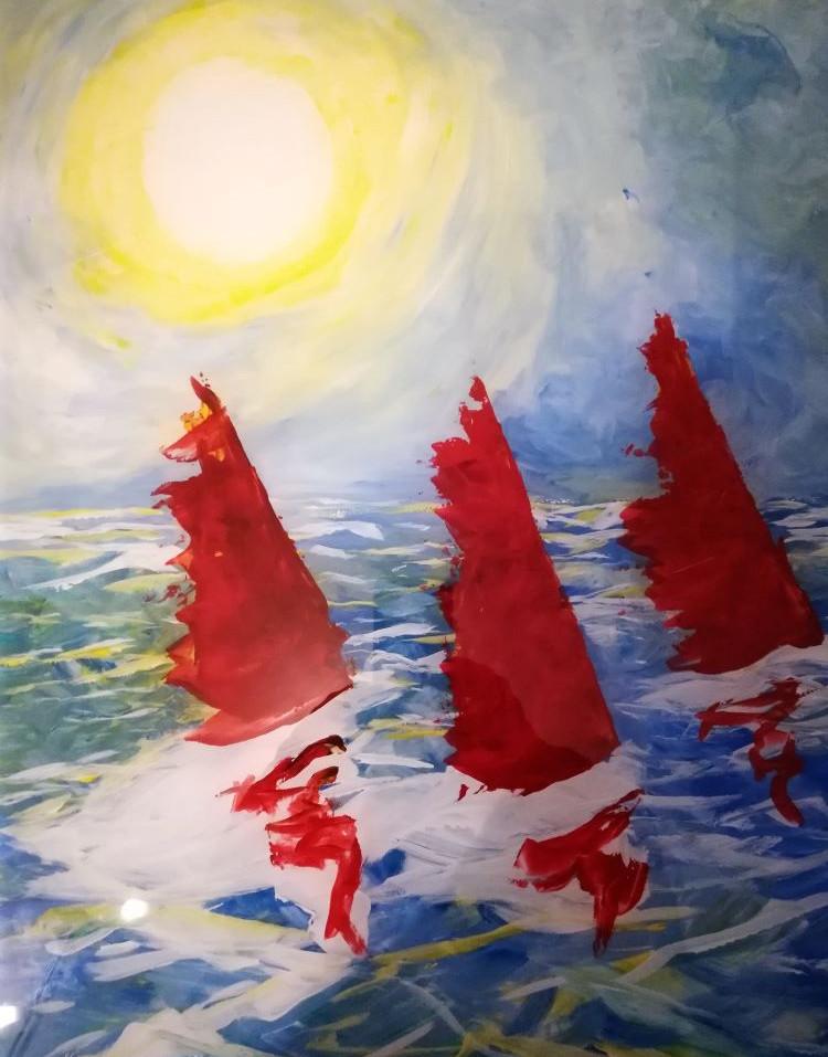 Voiles rouges et soleil blanc