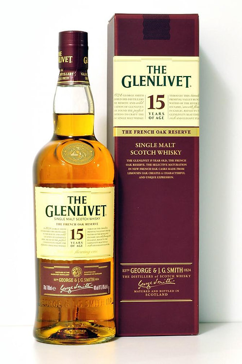 GLENLIVET SCOTCH 15 YR -  750ML