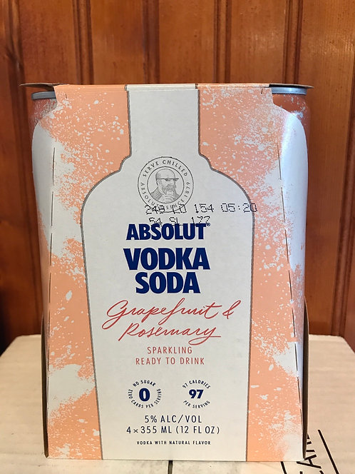 Absolut vodka&soda grapefruit rosemary 355ml 4pack