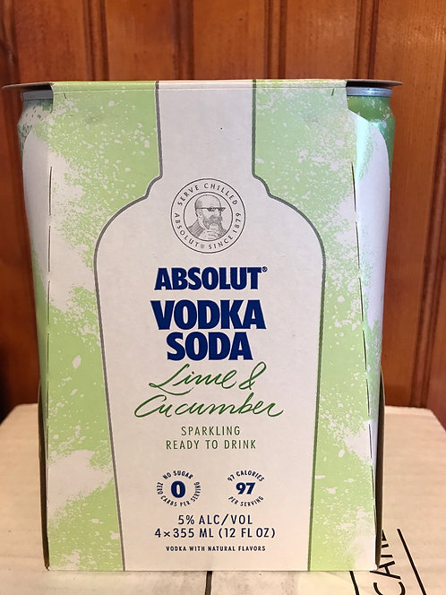 Absolut vodka&soda lime cucumber 355ml 4pack