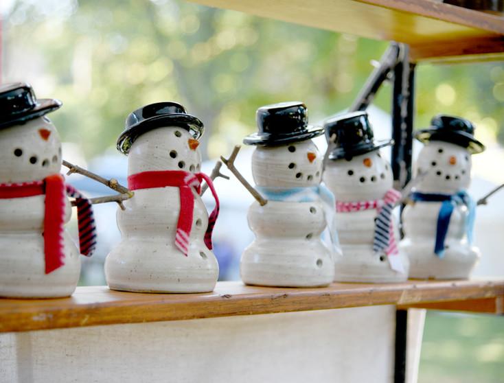 Pottery Snowmen