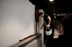 シネマコーナーの壁、塗装